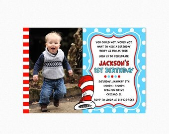 Dr Seuss Birthday Party Invitation, Cat in the Hat Birthday Invitation, Red, Blue, Polka Dots, Boy, Girl, Printable or Printed