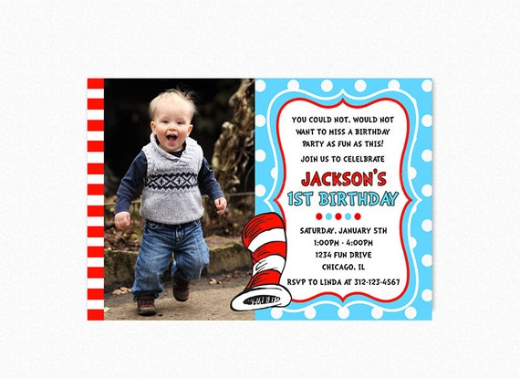 Dr. Seuss Birthday Party Invitation, Dr. Seuss Invites, Red, Blue, Printable, PERSONALIZED