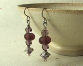Purple and silver bead earrings on hypo-allergenic titanium ear wires