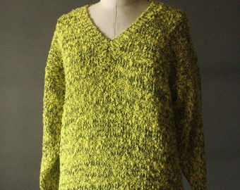 Vintage 80's Neon Yellow and Black V-Neck Pullover Knit Sweater