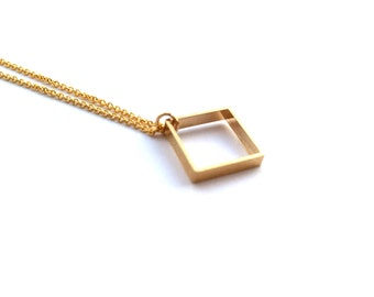 Simple Cube Necklace, Dainty Small Square Shaped Geometric Pendant, gift for her, Minimal Everyday Wear