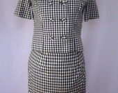 Checked Black and White Ladies Vintage Skirt and Jacket Suit Handmade