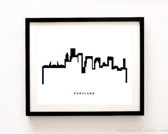 Portland Skyline Print - Portland Cityscape Print - Portland Wall Art - Portland Skyline Poster - Modern Black and White Decor - Aldari Art