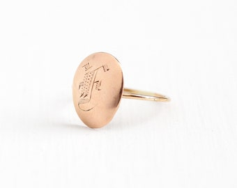 """Sale - Antique 10k Rose Gold Initial """"F"""" Ring - Size 5 Early 1900s Victorian Edwardian Fine Stick Pin Conversion Monogrammed Signet Jewelry"""