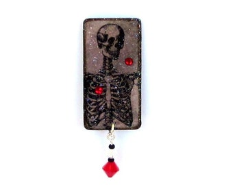 Halloween Lapel Pin  Skeleton Jewelry Spooky Jewelry Goth Brooch Black Gray Gothic Vintage Style Skeleton
