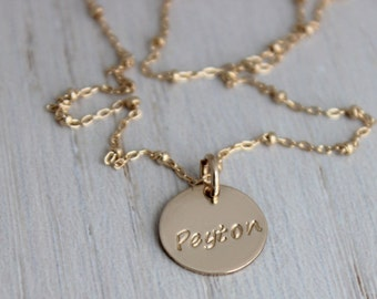 custom stamped gold necklace, name tag pendant, gold mothers necklace, personalized name jewelry, simple tag necklace, stamped name disc