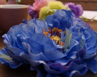 Hair Flower Clip / Blue flower hair piece / wedding hair flower clip / flower fascinator / Peony