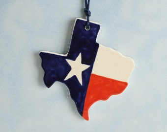 Texas State Ornament Hand Painted Red White Blue