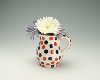Red, White, and Blue Small Pitcher or Flower Vase with Handle Hand Painted Polka Dots