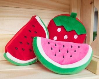 Watermelon strawberry fruit coin purse