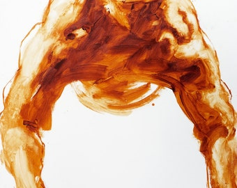"Extra Large Male Figure Painting, burnt sienna gestural abstract art, 36 x 48"", original canvas by Derek Overfield"