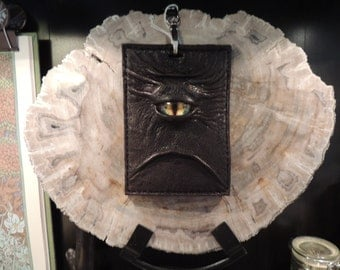Convention Badge Holder: Dark Brown Leather and Yellow Eye