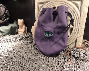 Dragon eye dice bag (Purple leather with Green  Eye)----New Style-----
