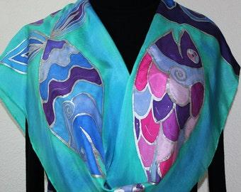 Silk Scarf Handpainted. Teal, Purple Hand Painted Shawl. Handmade Silk Wrap THREE SMILING FISH. Large 14x72. Bridesmaid, Mother Gift.