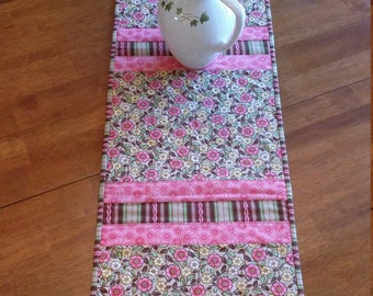 "Quilted Table Runner, Floral Table Runner 12 x 52"", Spring Table Runner, Pink and Beige Table Runner, Quilted Floral Table Topper"