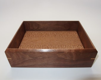 """Walnut Valet Box. Wooden Tray Upholstered in Designer Leather. 7.75"""" x 6"""" x 2"""""""