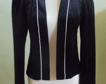 """Vintage 70's Tom Bezduda for Barad & Co. Quilted Black Velour Jacket with Small Pearl Around Neck Opening Bust 35"""" Waist 35"""""""