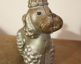 Cast Iron figurine dog poodle silver painted toy paperweight Mothers Day