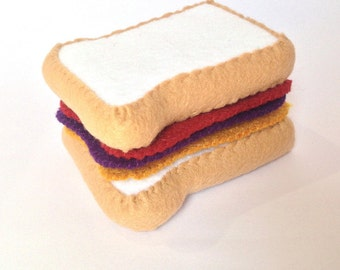 Felt food pb and j sandwich set eco friendly felt play food for toy kitchen felt sandwich peanut butter and jelly sandwich