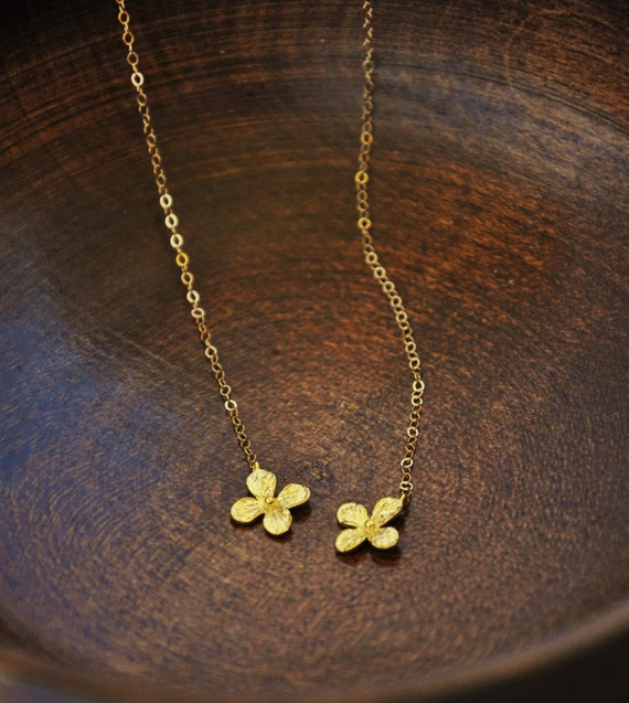 Gold tiny hydrangea flower lariat necklace wrap by ysmdesigns for Gemsprouts tiny plant jewelry