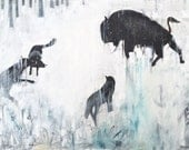 The Buffalo and the Wolves - Original Painting - Man Art Nation