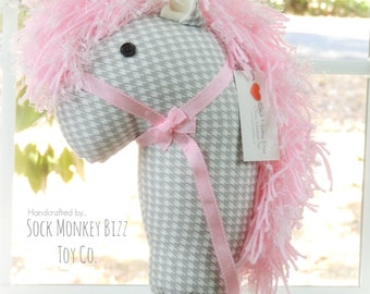 """36"""" Grey Houndstooth Stick Horse, Hobby Horse Child's Ride On Toy"""