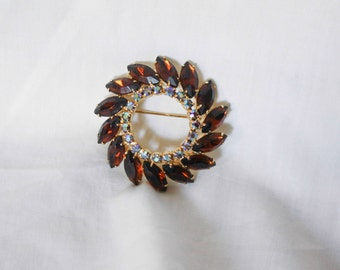 Amber Chocolate Rhinestone Brooch