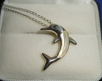 Sterling Silver Mother Of Pearl Dolphin Necklace