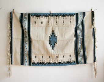 Blue Diamond Ivory Mexican Woven Rug