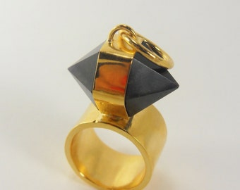 INTREPID Herkimer Cut Amethyst Ring 14k Gold Vermeil