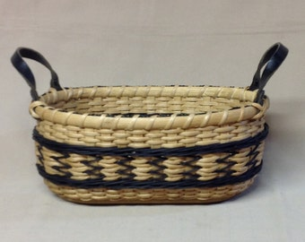 Hand Woven Oval Basket, Arrows Design, Black Accent Weaving and Leather Side Handles