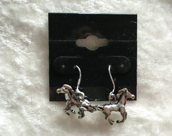 Horse Earrings, Silver Earrings, Dangle Earrings, Silver Horse, Running Horse, Gift for Her, Birthday Gift, Horse Lover Gift, Horse Jewelry