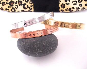 Cuff Bracelets, Personalized Cuff Bracelets, Sisters Bracelet Set, Sisters Jewelry, Mixed Metal Cuff Bracelets, Mommy Jewelry, Gold Bracelet