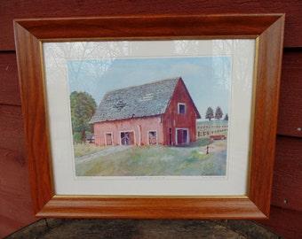 Farmhouse Decor. Eisenhower Print. DESERTED BARN. framed print. Dwight Eisenhower. President Eisenhower. Eisenhower Art. vintage 1960s.