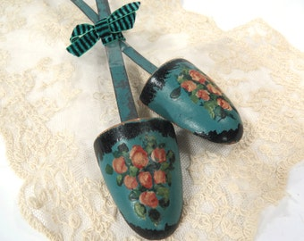 Hand Painted Shoe Stretchers, Vintage Shoe Trees, Wood & Metal, Pink Rosebuds on Teal Blue, Photo Prop