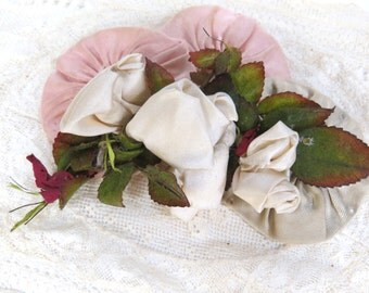 Antique Ivory Rayon Silk Ribbon Rosette Sew On for Bridal Headpiece, Graduation, Hats, Fashion