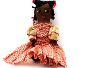 RESERVED BILLY 1930s Black Americana Doll, 1940s Black Americana Rag Doll, Embroidered Face Handmade Americana Doll