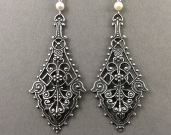 Bridal Chandelier Earrings With Large Silver Filigree And Cream Swarovski Crystal Pearls