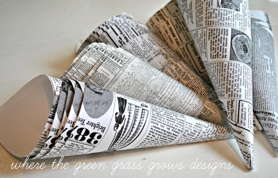 Newspaper Print Popcorn Funnels