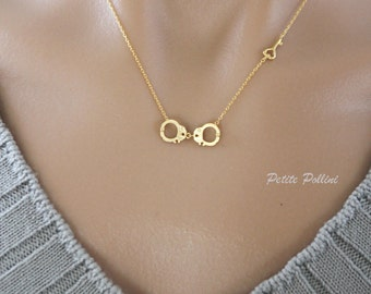 Handcuff Necklace with a Love Key in Matte Gold/ Silver. Love Key. Valentine's Gift. Whimsical Fun. Unisex Gift (PNL-55)
