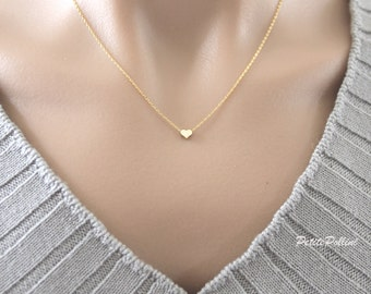 Heart Necklace in Gold/ Silver. Small Heart. Collarbone Necklace. Love. Valentine's Gift. Anniversary. Gift For Her (PNL-92)
