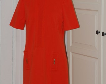 60s 70s Dress, Orange, Courreges-Like, Mod, Shift, Knit, Size Medium