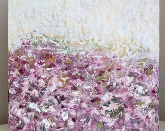Encaustic Painting Original Abstract Painting Roses painting  Remember Love  16 x 16 Swalla Studio