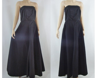 Vintage Fifties Dress - 1950s Black Strapless Dress - 50s Taffeta Gown - XS Small Black Gown