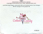 Candy cotton logo , Candy logo, Sweet business logo, candy bow logo girl candy business boutique logo by princessmi  1220-24