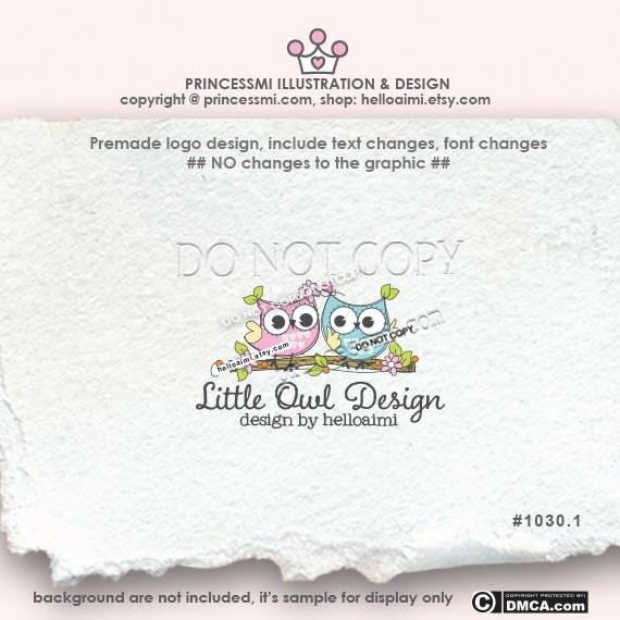 Owl logo Custom logo Premade Logo Design - Two Owl illustration photography logo business boutique logo by princessmi 1031-1