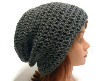 Grey Slouchy Hat, Grey Wool Hat, Wool Winter Hat, Hipster Slouchy Hat, Slouchy Grey Hat, Wool Beanie, Grey Wool, Wool Beanie, Grey Hat