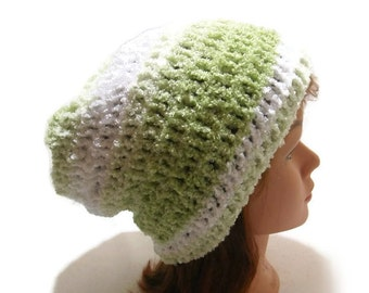 Green Slouchy Hat, Ombre Green Hat, Fuzzy Winter Hat, White Slouchy Hat, Unisex Winter Hat, Hipster Beanie, Green and White Hat, Green Ombre