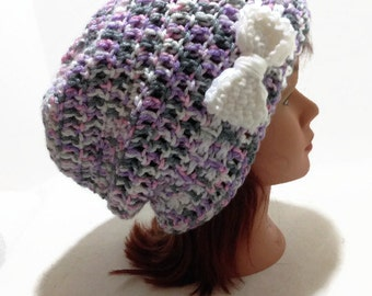Purple Slouchy Beanie Hat with Bow Ribbon and Bow Hat Hipster Beanie Kawaii Hat Ombre Purple Hat Grey Pink Purple