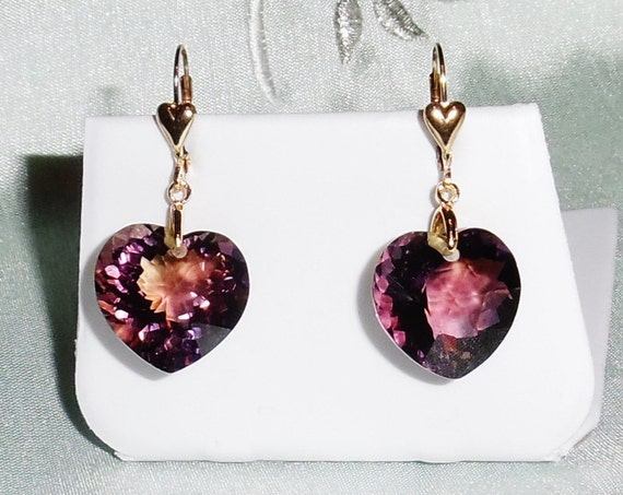 MAGNIFICENT 35 cts Natural HEART cut Bolivia Bi-Color Ametrine gemstones,  14kt yellow gold Leverback Earrings